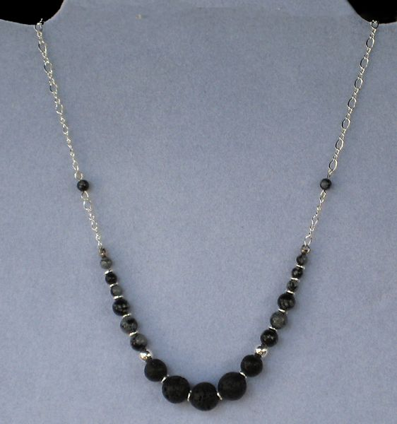 Lava and Obsidian Necklace with Sterling Silver