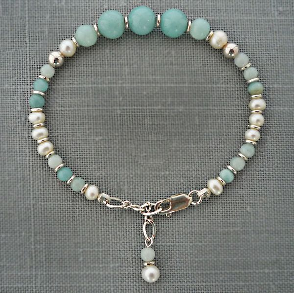 Amazonite and Pearl Bracelet