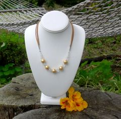 Shell Pearl, Quartz Crystal and Leather Necklace