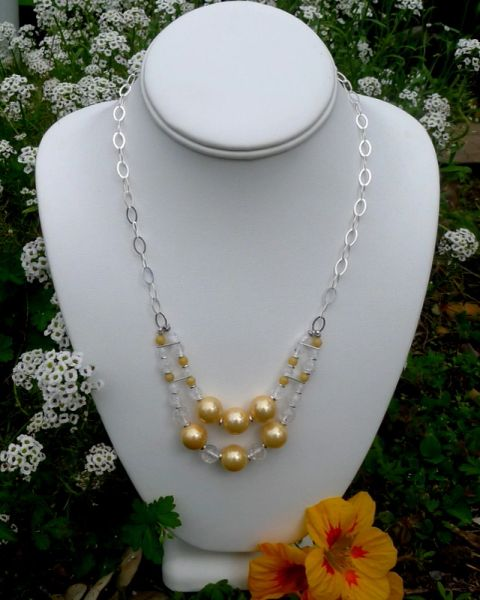 Shell Pearls, Quartz Crystal and Sterling Silver Necklace