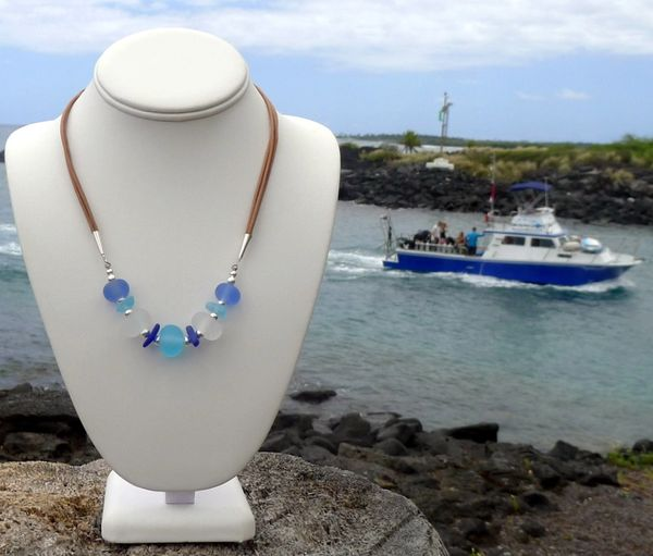 Handcrafted Glass Beads and Sea Glass Necklace