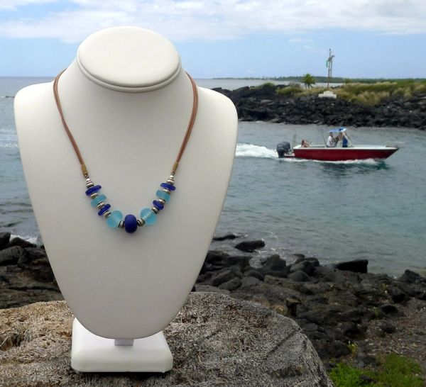 Sea Glass and Handcrafted Glass Bead Necklace