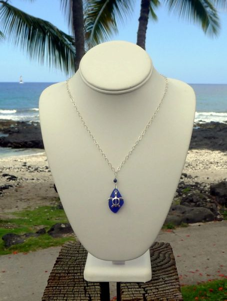 Sea Glass and Sterling Silver Turtle Necklace