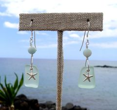 Sea Glass and Sterling Starfish Earrings