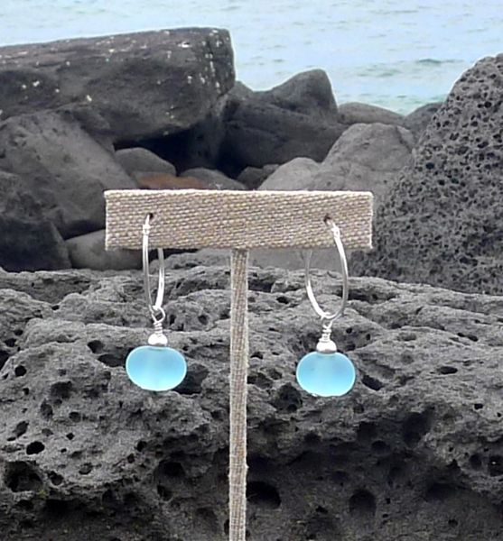 Frosted Handcrafted Glass Bead and Sterling Silver Earrings