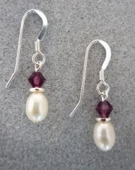 Crystal and Pearl Earrings in Amethyst