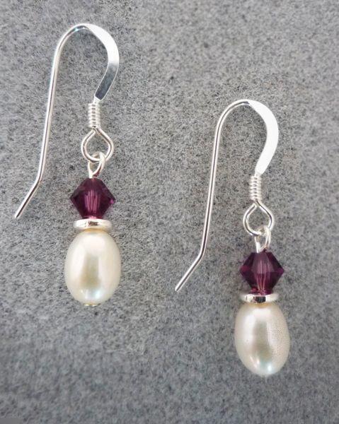 Crystal and Pearl Earrings in Amethyst