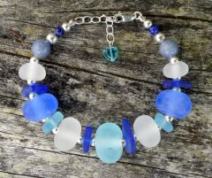 Handcrafted Glass Beads with Sea Glass Bracelet in Blue