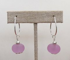 Handcrafted Glass Beads with Sterling Silver Hoops