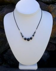 Lava with Obsidian and Leather Necklace