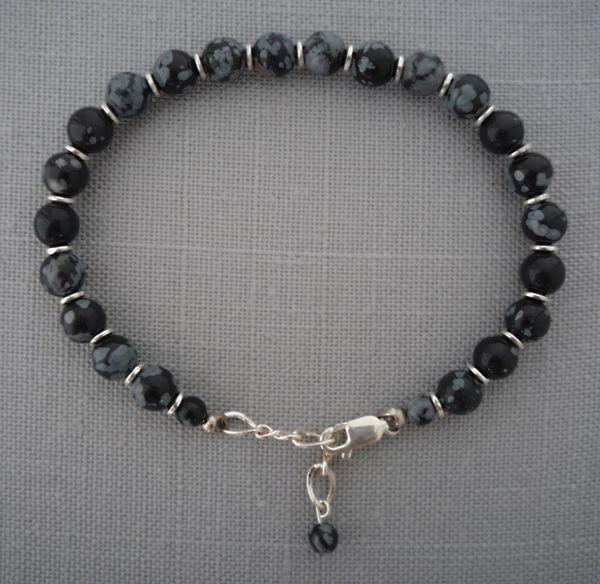 Obsidian and Sterling Silver Bracelet