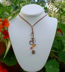 Jasper, Carnelian and Leather Necklace