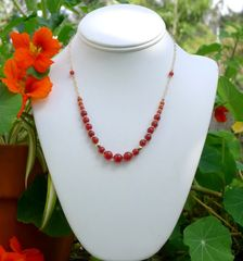 Carnelian and 14 kt Gold Filled Necklace