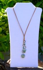 Long Leather Necklace with Agate and Aventurine
