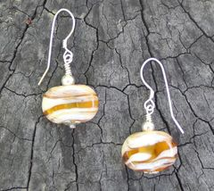 Handcrafted Flat Oval Glass Bead Earrings