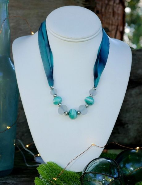 Handcrafted Glass Beads and Silk