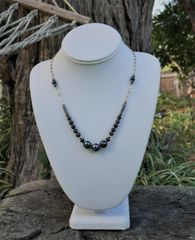 Raven Wing Pearl and Chain Necklace