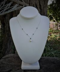 Single White Pearl with Cut Crystal and Sterling Silver