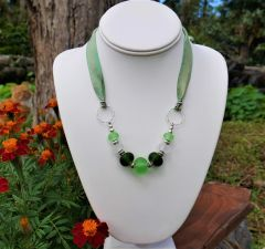 Frosted Glass Beads with Silk Necklace