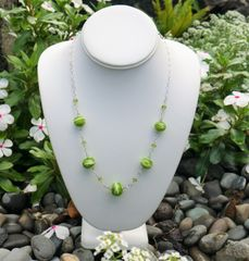 Glass Beads with Peridot and Sterling Silver