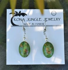 Green Turquoise Oval Earrings