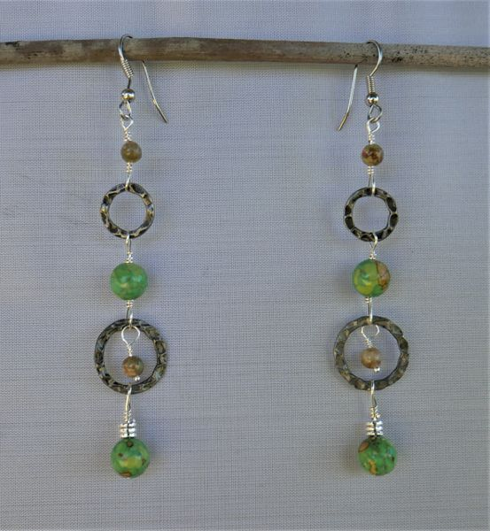 Green Turquoise Extra Long Earrings