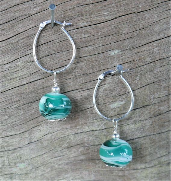 Green Glass Beads on Sterling Silver Hoops