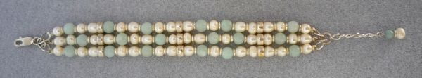 Amazonite and Pearl Triple Strand Bracelet