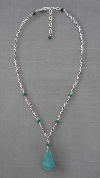Beach glass and Sterling Silver Necklace