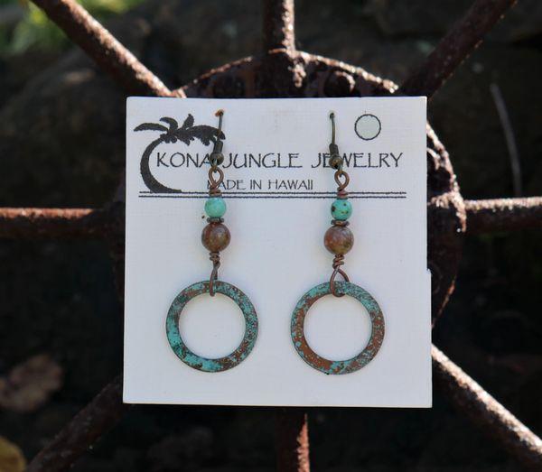 Copper Ring Earrings