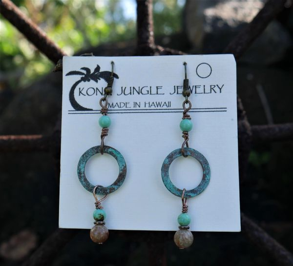 Copper Earrings with Jasper and Magnesite Dangles.
