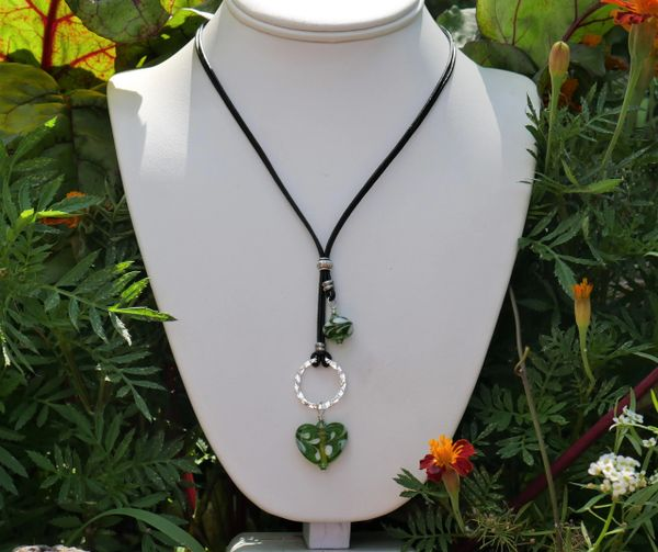Green Glass Heart and Leather Necklace