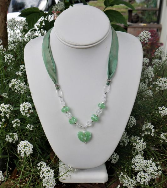 Glass Heart and Silk in Green Necklace