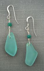 Beach Glass Earrings in Turquoise-Medium