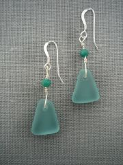 Beach glass Earrings in Turquoise-Small