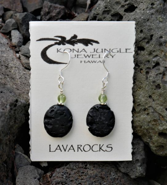 Lava and Peridot Earrings