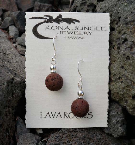 Lava and Sterling Silver Earrings