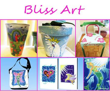 Bliss Art services - image of Bliss art including painting, painted furniture and pots, cards, bag.