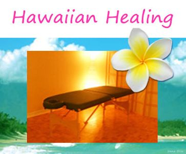 Bliss Hawaiian Healing session – massage table with plumeria and Hawaiian scene in the background.