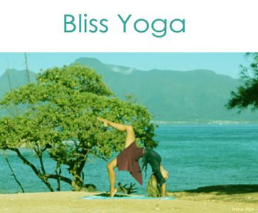 Bliss Yoga – Irena in heart-open yoga pose on the beach.