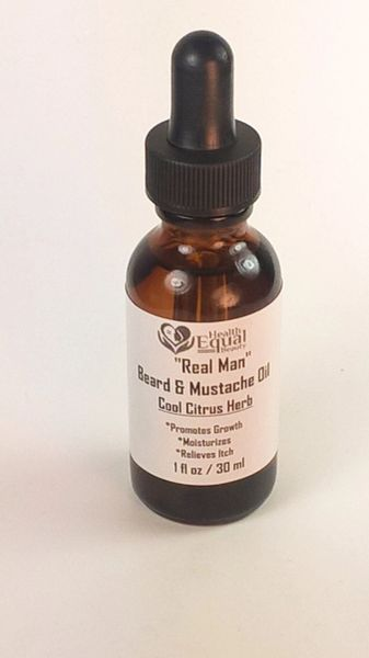 """Real Man"" Cool Citrus Herb Beard & Mustache Oil 1 oz"