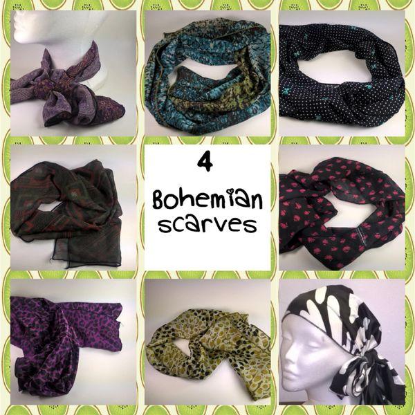 4 Bohemian Scarves (Styles vary)