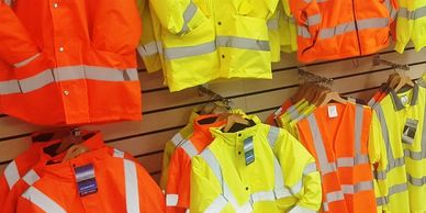 Yellow work jacket, Waterproof Hiviz coat, hivis in alnwick hiviz polo, Hivis Hoodie. Safety Shop NE