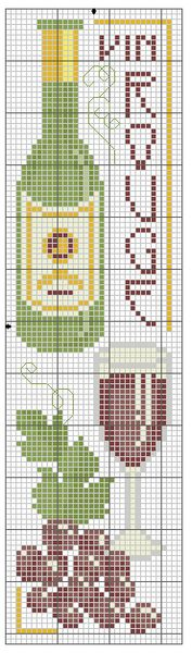 RED WINE COUNTED CROSS STITCH BOOKMARK