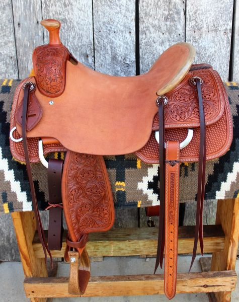 DC Cow Horse Gear Ranch Cutter 16 3/4 Versatility Saddle with rawhide  covered horn and cantle, oak and acorn tooling, custom conchos, and Don  Orrell