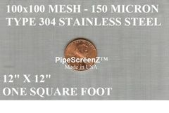"One Square Foot (12""x12"") 100 mesh 150 micron Type 304 Stainless Steel Woven Wire Mesh"