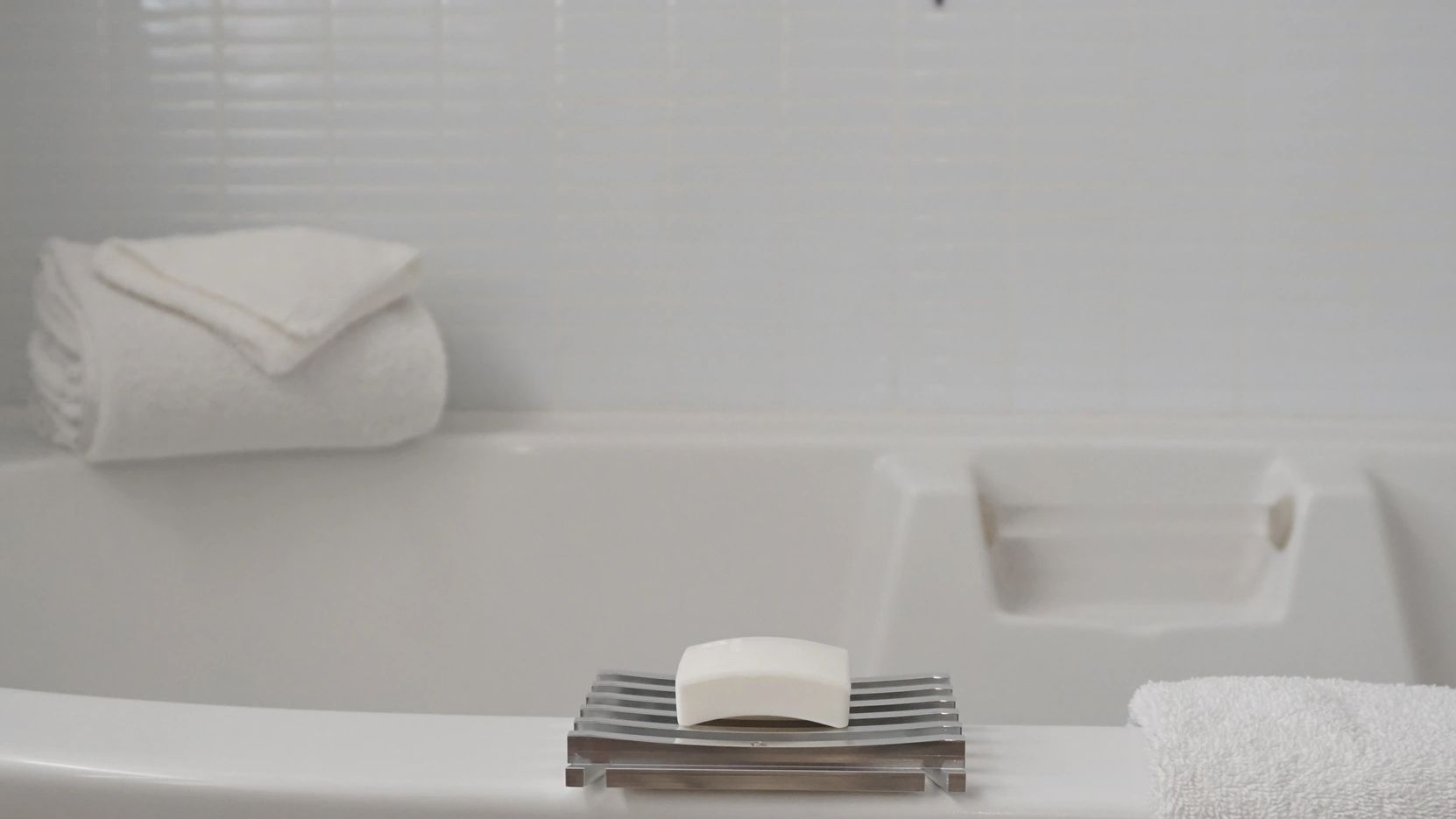 This shows the elegance of our soap dish product and how it can be used in a bathroom.