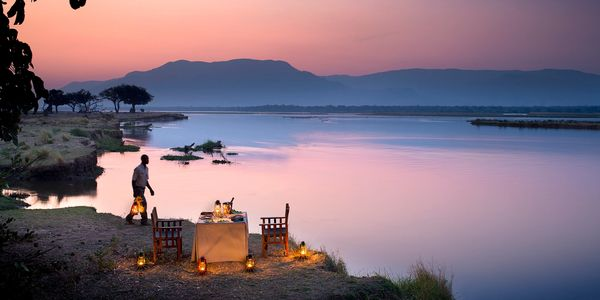 Zambezi Expeditions tented camp on the lower Zambezi River, Mana Pools National Park, Zimbabwe