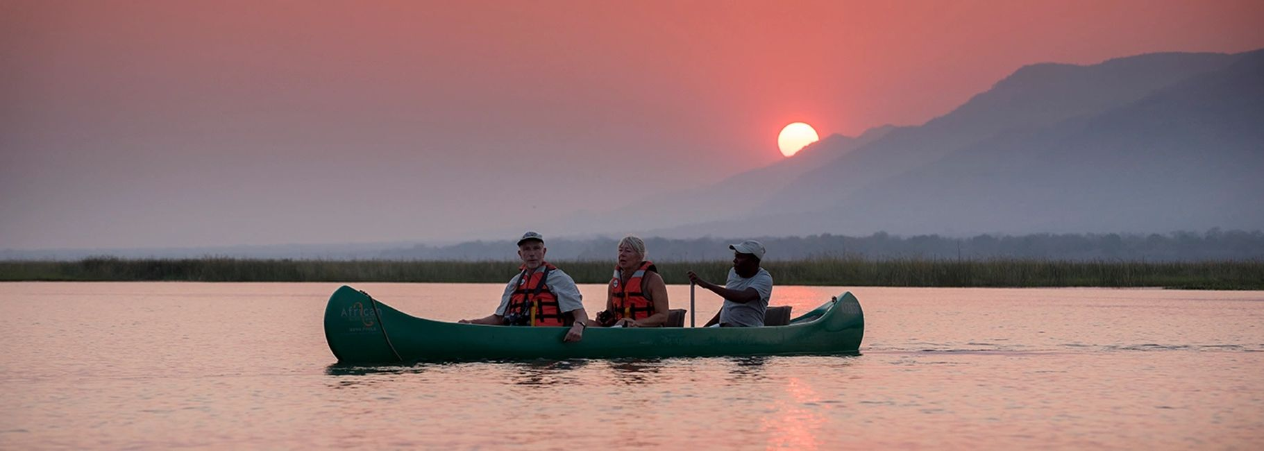 Canoeing Safari on the lower Zambezi River, Mana Pools National Park, Zimbabwe, Africa