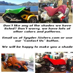 Can Am Spyder Sun Shade - Lots of colors to choose from
